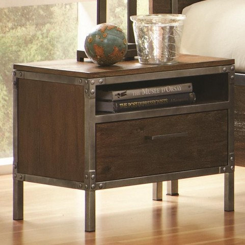 Arcadia Weathered Acacia 1 Drawer Nightstand