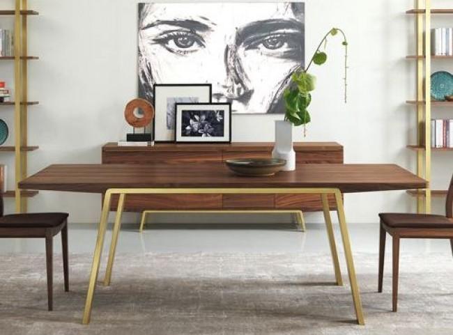 "Arco Walnut Veneer 87"" Rectangular Gold Leg Dining Table"
