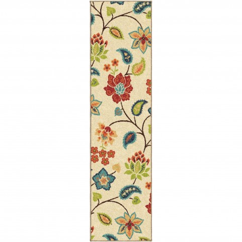 Full Bloom Ivory Runner Rug