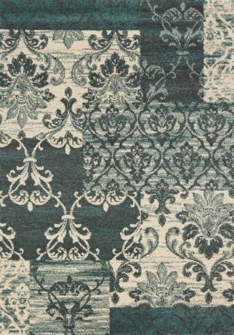 Ashbury Blue/Cream Damask Patchwork Medium Rug