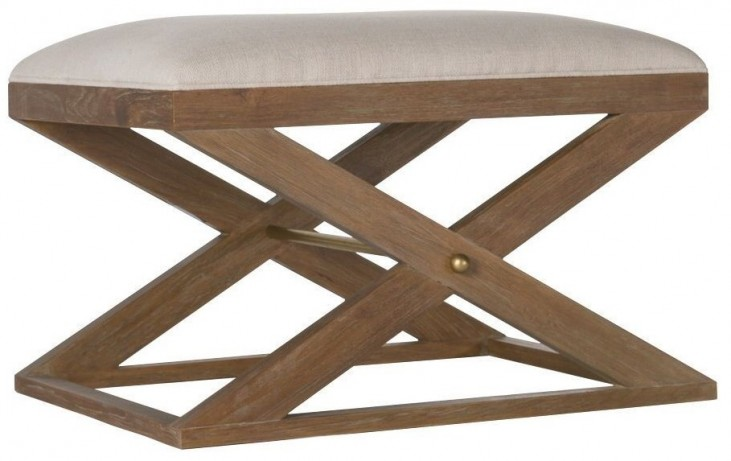 Atherton Cerused Teak Cream Linen Stool