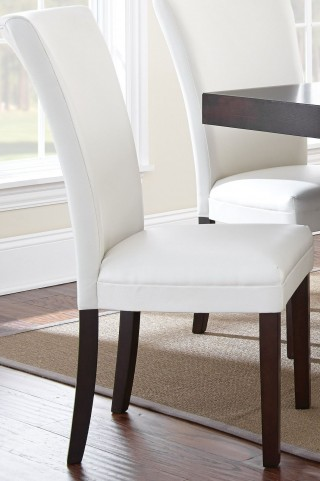 Berkley Dark Espresso Cherry White Parsons Chair Set of 2
