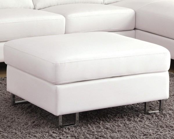 Avila White Bonded Leather Ottoman