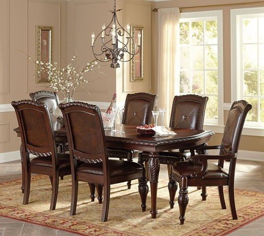 Antoinette Warm Brown Extendable Rectangular Dining Room Set