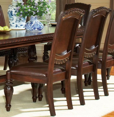 Antoinette Warm Brown Cherry Side Chair Set of 2