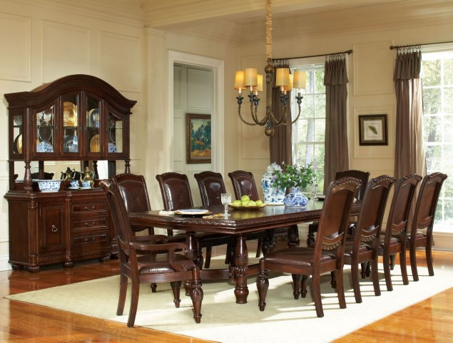 Antoinette Warm Brown Extendable Double Pedestal Dining Room Set