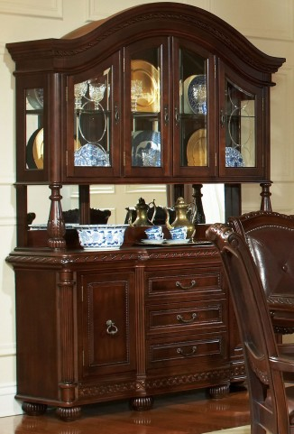 Antoinette Brown Cherry Buffet with Hutch