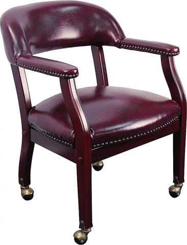 Oxblood Vinyl Conference Chair with Casters