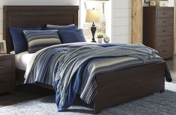 Arkaline Brown Queen Panel Bed