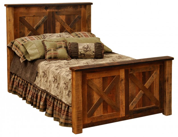 Barnwood Full Barndoor Bed