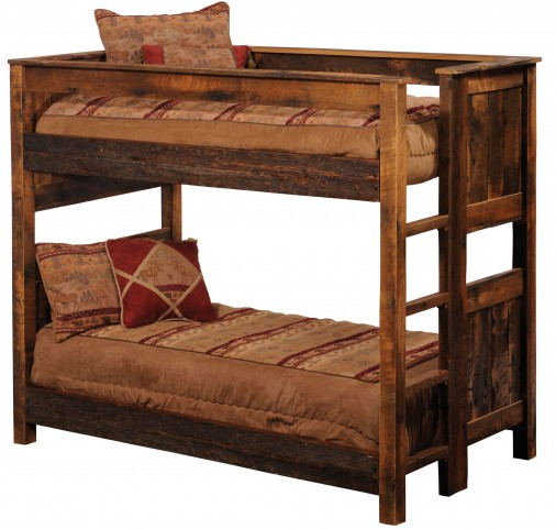 Barnwood Twin Over Twin Ladder Left Bunkbed