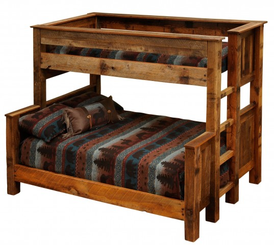 Barnwood Queen Over Twin Ladder Left Bunkbed