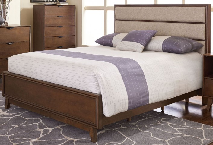 Mid-Mod Cinnamon Queen Upholstered Panel Bed
