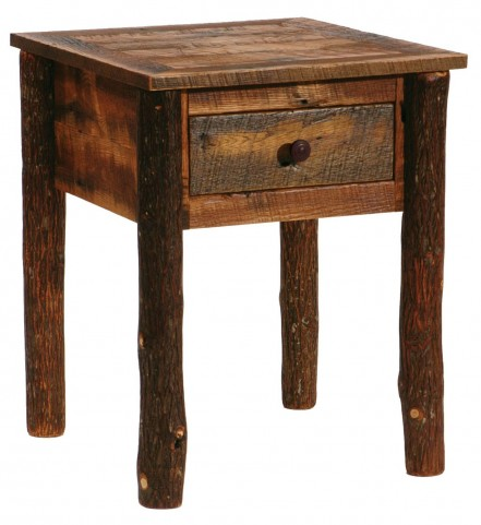 Barnwood One Drawer Nightstand with Hickory Legs