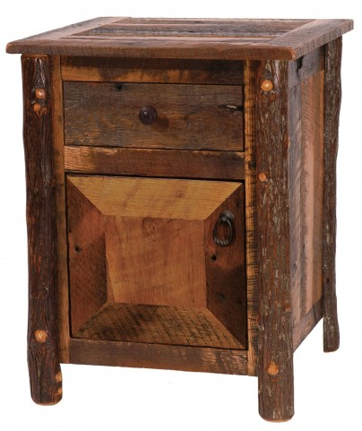 Barnwood Enclosed Nightstand with Hickory Legs