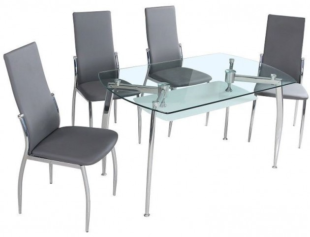 B11 Glass Rectangular Dining Room Set