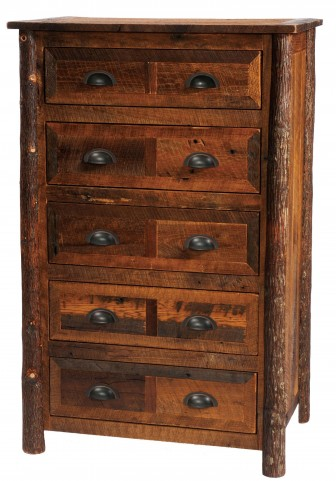 Barnwood Premium Line Five Drawer Chest With Hickory Legs