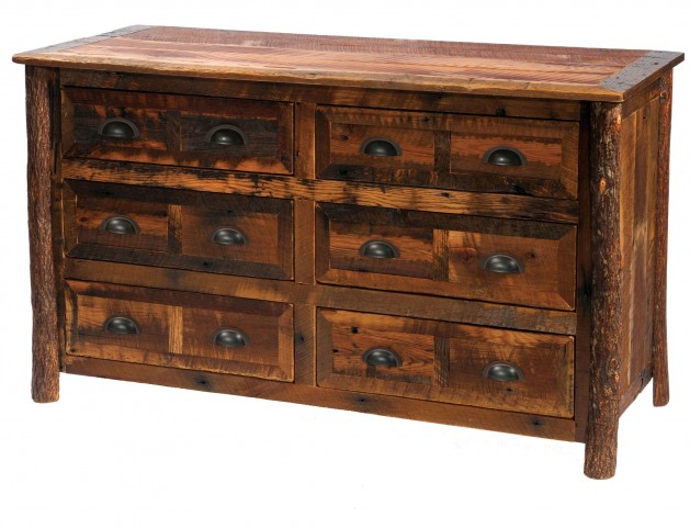 Barnwood Premium Line Six Drawer Dresser With Hickory Legs
