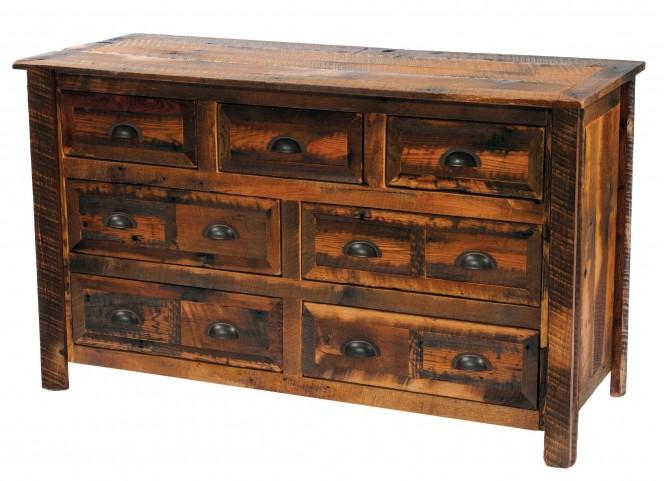 Barnwood Value Line Seven Drawer Dresser With Barnwood Legs