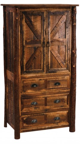 Barnwood Premium Line Three Drawer Armoire With Hickory Legs