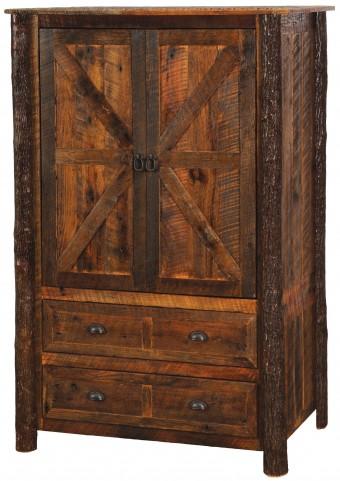 Value Barnwood 2 Drawer Wardrobe With Hanging Rod & Hickory Legs -