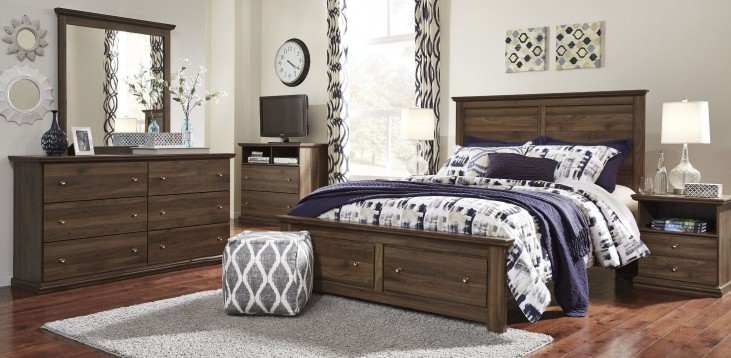 Burminson Brown Platform Storage Bedroom Set