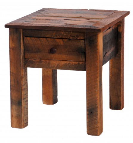 Barnwood One Drawer End Table With Barnwood Legs