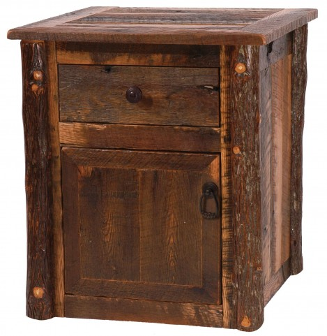 Barnwood Enclosed End Table With Hickory Legs