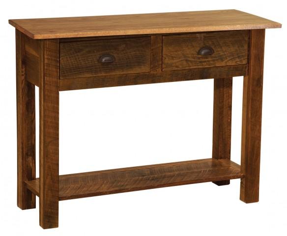 Barnwood Two Drawer Sofa Table With Barnwood Legs