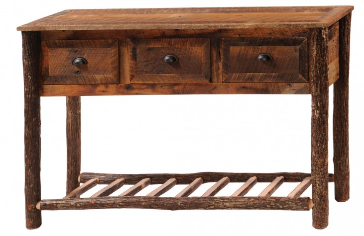 3 Drawers Console Table With Hickory Legs & Shelf