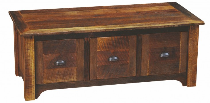 Barnwood 3 Drawers Entry Bench with Barnwood Legs