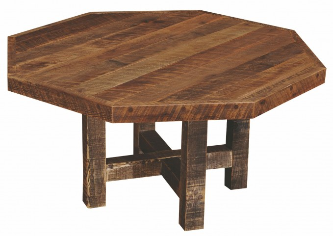 "Barnwood Octagon 48"" Traditional Oak Top Dining Table"