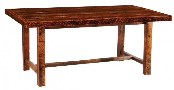 "Barnwood Farmhouse 84"" Artisan Top Rectangular Dining Table"