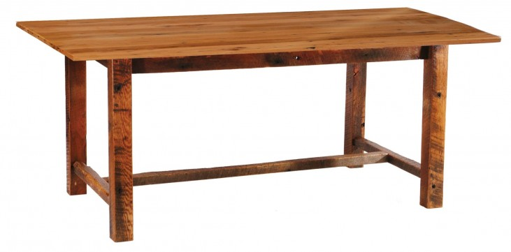 "Barnwood Farmhouse 84"" Traditional Oak Top Rectangular Dining Table"