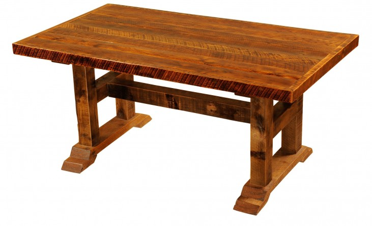 "Barnwood Timbers 84"" Artisan Top Rectangular Dining Table"