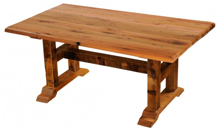 "Barnwood Timbers 84"" Traditional Oak Top Rectangular Dining Table"