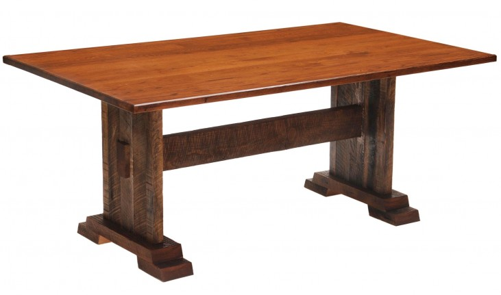 "Barnwood Harvest 72"" Antique Oak Top Rectangular Dining Table"