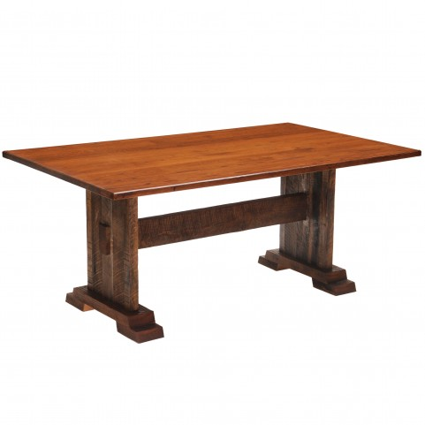 "Barnwood Harvest 84"" Antique Oak Top Rectangular Dining Table"
