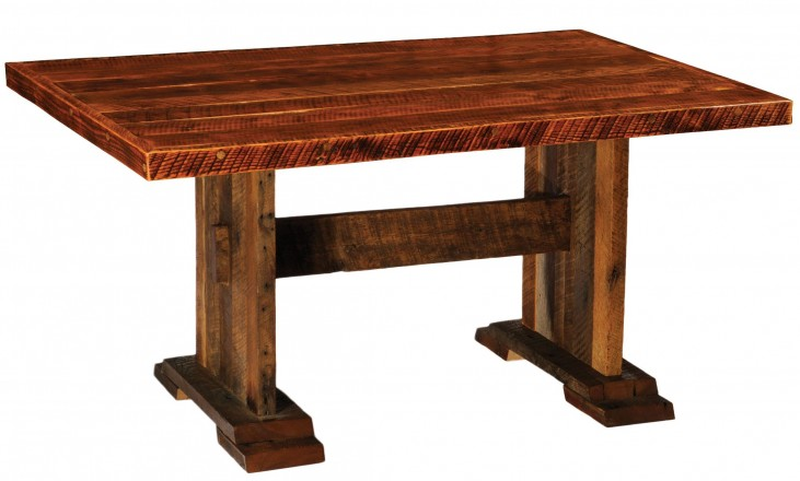 "Barnwood Harvest 96"" Artisan Top Rectangular Dining Table"