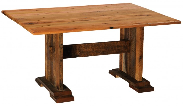 "Barnwood Farmhouse 96"" Traditional Oak Top Rectangular Dining Table"