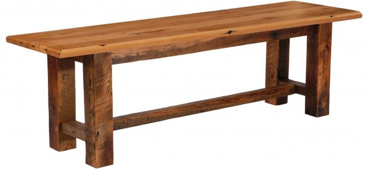 """Barnwood 42"""" Traditional Oak Top Bench"""