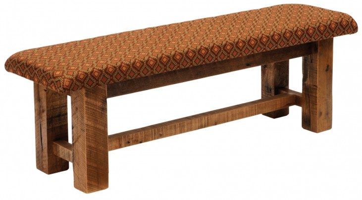 "Barnwood Upholstered Seat 60"" Standard Fabric Bench"