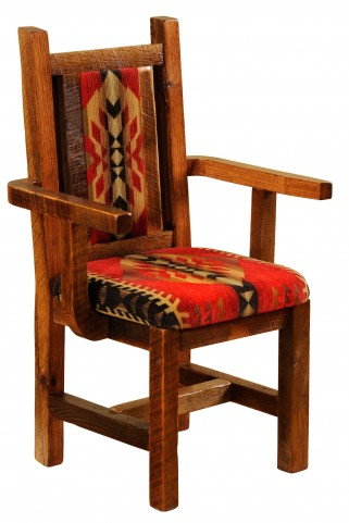 Barnwood Artisan Traditional Finish Upholstered Arm Chair