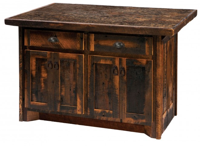 "Barnwood 60"" Laminate Top Kitchen Island"