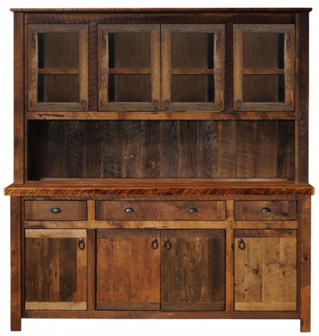 "Barnwood 75"" Artisan Buffet and Hutch With Barnwood Legs"