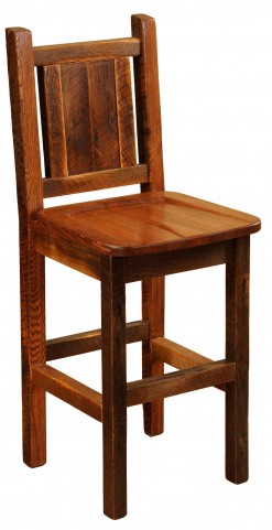 "Barnwood Antique Oak 24"" Backrest Counter Stool"