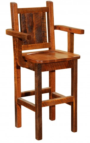 """Barnwood Artisan 24"""" Backrest Counter Stool"""
