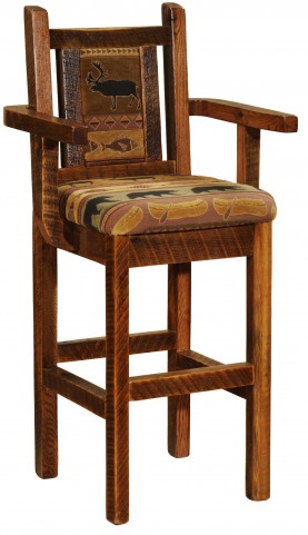 "Barnwood Artisan 30"" Upholstered Bar Stool"