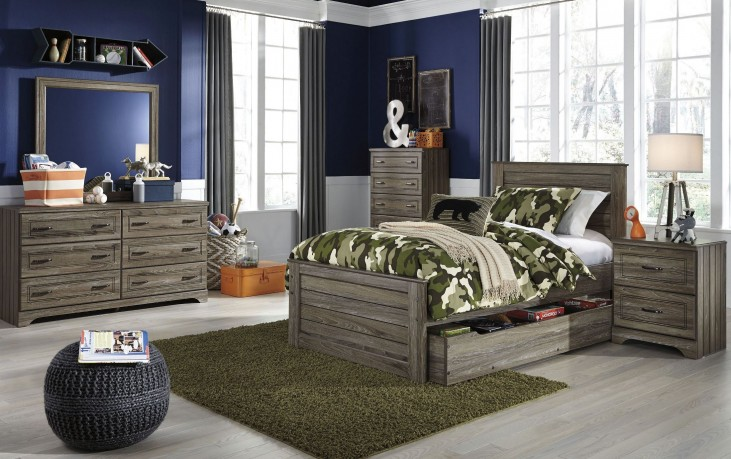 Javarin Grayish Brown Youth Trundle Panel Bedroom Set