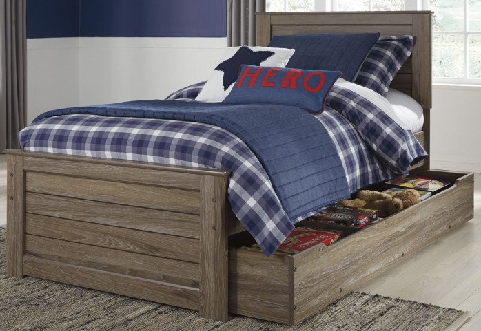 Javarin Grayish Brown Twin Trundle Panel Bed